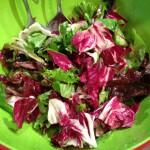 Salat mit gebratenen Pilzen und Schrimps